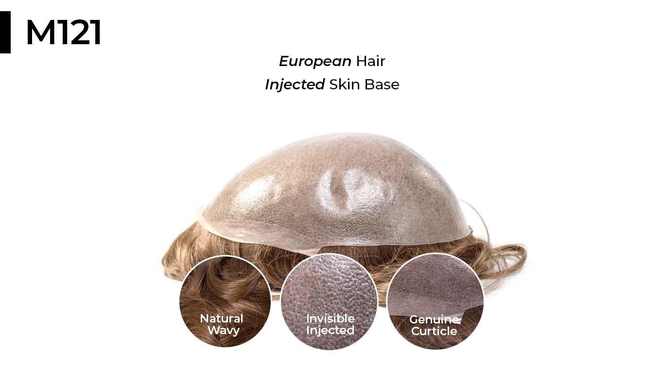 M121 thin skin toupee with european hair